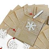 25marrone carta di weihnac htstueten (13X 18+ 2cm sigillo) Vintage Shabby Chic Bianca + legno inciso (7cm) + fiocchi di neve natalizio, in confezione di wichteln, Give Away