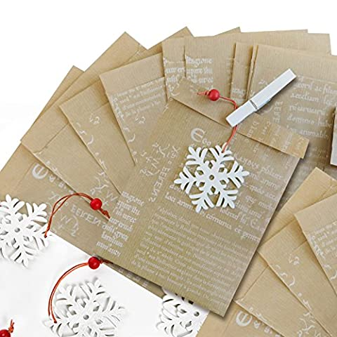 10 braune Papier-Geschenk-Weihnachts-Tüten (13 x 18 + 2 cm Lasche) mit Deko-Text, weiße Holz-Deko-Klammer (7 cm) + Holz Schneeflocken Weihnachtsanhänger als Verpackung zum Wichteln, give-away und Mitbringsel
