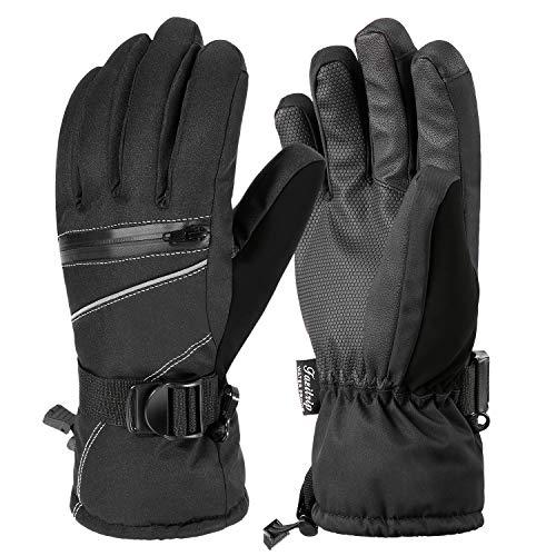 Fazitrip 3m thinsulate uomo antivento e impermeabile guanti invernali guanti – guanti outdoor, sci/snowboard/guanti da equitazione con guanti dita caldi (black, l/xl)