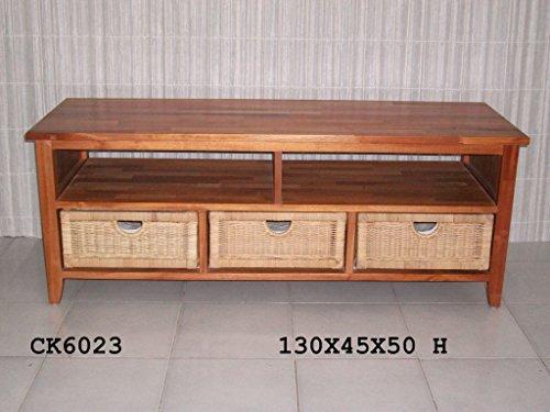 Cassettiera midollino porta tv tv struttura mogano