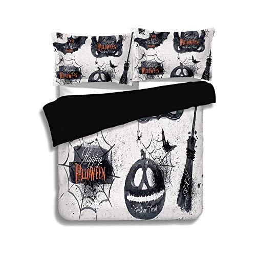 Schwarzer Bettbezug-Set, Vintage Halloween, Halloween-Symbole Happy Holiday Hexe lebt hier Besenstiel Spinnennetz Dekorativ, Schwarz Weiß, Dekorativ 3-teiliges Bettwäscheset von 2 Pillow Shams, King S (Symbole Von Halloween-hexen)