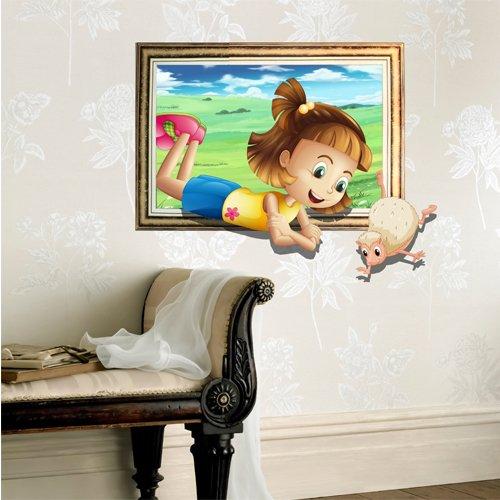 Bluelover Camera dei bambini bambino 3D cartone animato Little Girl pecore gioco muro decalcomanie carta rimovibile adesivi arte regalo fai da TE decorazione