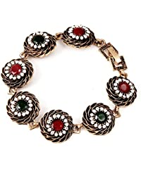 IGP Oxidized Golden Red Green Floral Chain Bracelet For Women And Girls