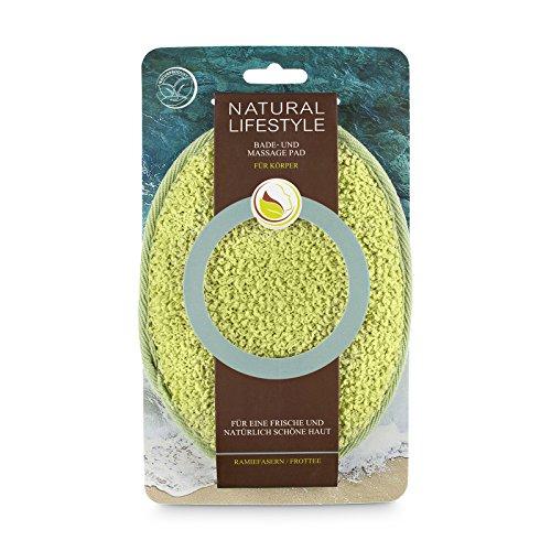 Peeling-Pad, Grün, aus Ramiefasern (Pflanzenfaser) & Frottee, Körper-Reinigung, Massage + Leichtes Peeling aus Naturkosmetik, verwöhnt die Haut in der Dusche, für Männer & Frauen, Vegan,1 St (Sauerstoff-peel)