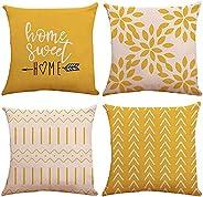 KASTWAVE Pillow Covers 18x18 Set of 4, Modern Sofa Throw Pillow Cover, Decorative Outdoor Linen Fabric Pillow