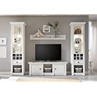 Dreams4Home Wohnwand U0027Tinnumu0027   Set, 2x Regalschrank, TV Lowboard, Wandregal