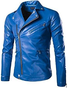 Abrigo Chaqueta de Moto Para Hombre Slim Fit Cuero de la PU
