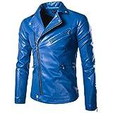 Cappotto Giacca da Uomo Motociclista in PU Pelle Manica Lunga Blu L