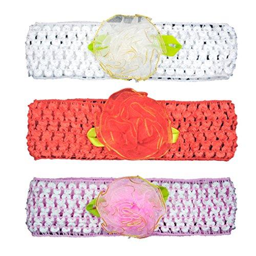 Crochet Cutwork Flower Baby Headband (White, Peach, Pink) 3 Pcs Set