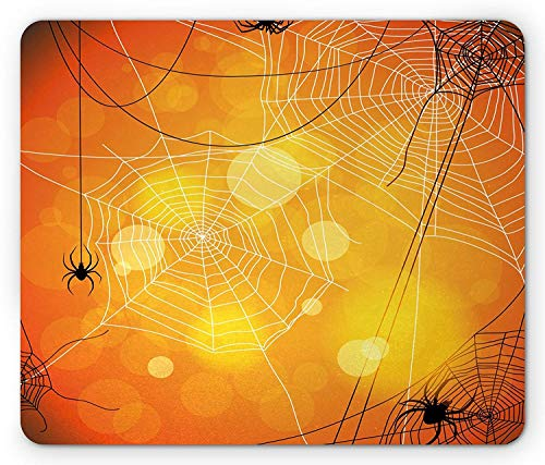 ASKSSD Halloween Mouse Pad, Spiders Arachnid Insects Cobweb Thread Trap on Abstract Bokeh Backdrop, Standard Size Rectangle Non-Slip Rubber Mousepad, Orange Yellow White