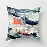 LULABE Eye of The Storm [2] - Abstract Mixed Media Piece in Blues, White, and red Throw Pillow Cushion Cover for Couch Sofa Or Bed Set Cozy Home Decor Size:20 X 20 Inches/50cm x 50cm