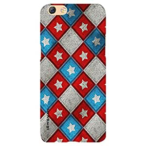 iSweven Blue Red Square design printed matte finish back case cover for Oppo F3