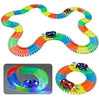 Circuito Coches Coche de Jueguete Pista de Coches Flexible Circuito Twister Tracks Coches Niños Luminoso 220 Piezas con 2 Coches LED para Infantil 3 4 5 Años