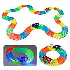 Idea Regalo - TONZE Pista Luminosa Macchinine Giocattolo con 220 pezzi Flessibile Piste Elettriche Glow Dark Macchine con 2 LED Auto Gioco per Bambini 3 4 Anni(3,30 Metri)