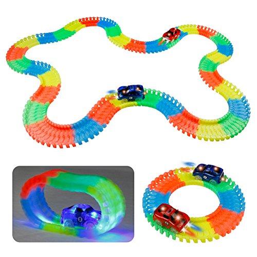 Circuito Coches Coche de Jueguete Pista de Coches Flexible Circuito Tracks Coches Niños Luminoso 220 Piezas con 2 Coches LED para Infantil 3 4 5 Años