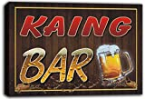 scw3-076573 KAING Name Home Bar Pub Beer Mugs Cheers Stretched Canvas Print Sign