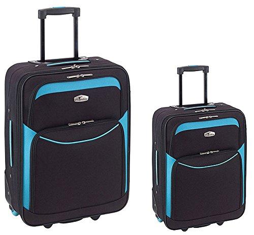 Reisekoffer-Set 2-teilig 2 Rollen Trolley Koffer Weichgepäck IBIZA XS + L mit Kofferschloss Farbwahl (Schwarz-blau)