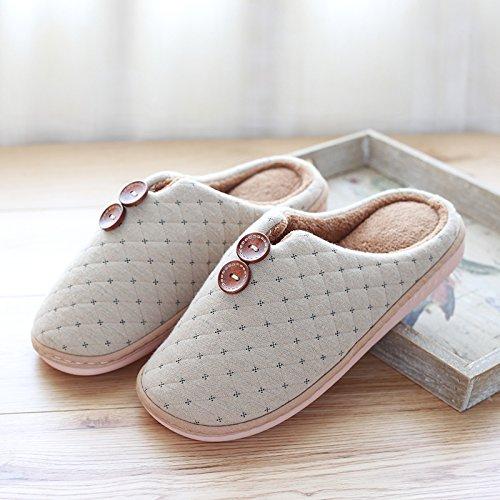 DogHaccd pantofole,La camera ha una parte antiscivolo pantofole inverno paio di pantofole di cotone femmina maschio spessa soggiorno caldo Inverno Home E COLORE4
