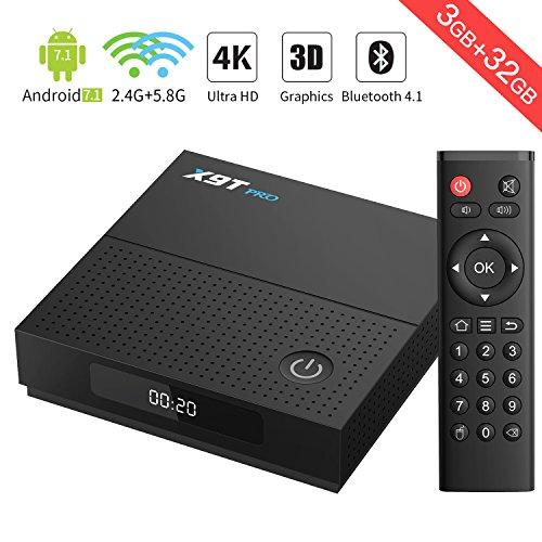 TICTID Android TV Box 3Go+32Go X9T Pro BT 4.1 TV Box Wi-FI 2.4G+5.8G 802.11 b/g/n S912 Octa Core Arm Cortex-A53 Gigabit 1000M Android Smart Box