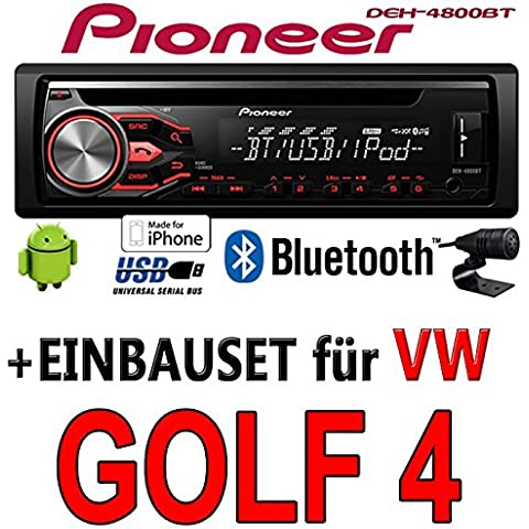 VW Golf 4 IV - Pioneer DEH-4800BT - CD/MP3/USB Bluetooth Autoradio - Einbauset