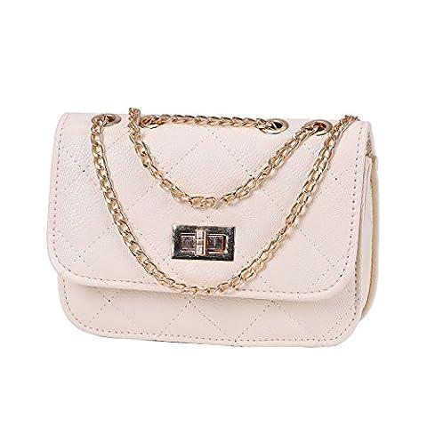 HDE Women's Crossbody Handbag Purse Lightweight Small with Chain Strap (Cream)