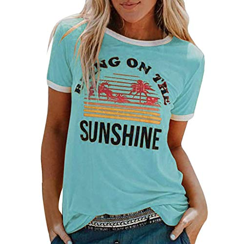 Lazzboy Donna T-Shirt Sunshine Coconut Tree Beach Stampare Top Slouch Bluse(48,Chiaro Blu)