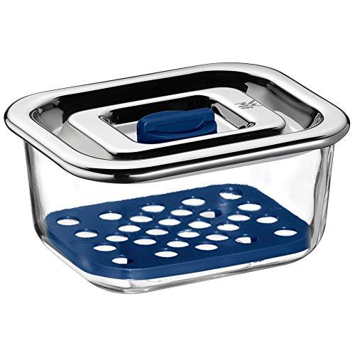 WMF Top Serve Frischhaltedose, rechteckig, 13x10 cm, Schale mit Abtropfgitter, luftdichtem Deckel, Frische-Ventil, Box zum Vorbereiten, Aufbewahren und Servieren