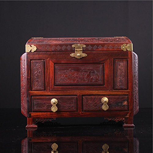 el ® Red Palisander Mahagoni Schmuckschatulle Holz Schmuckschatulle Schminkspiegel Kosmetiktasche Holzschnitzereien (Streifen-dusche-szene)