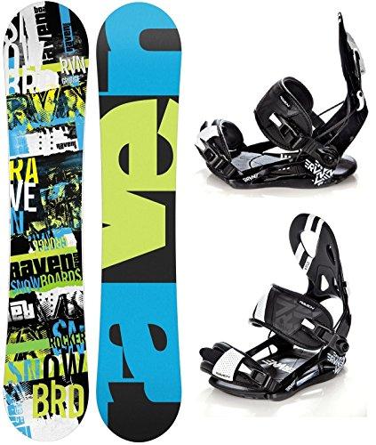 Snowboard Set: Snowboard Raven Grunge Green Carbon + Bindung Raven s250 Black XL