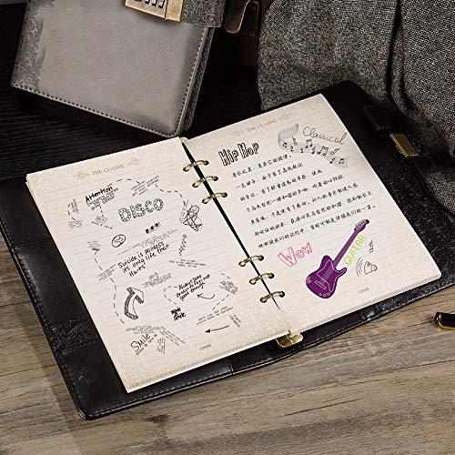 YWHY Notizbuch A5 Jahrgang Leder Lose Blatt Notebook Planer Teiler 2019 Spiralblock AgendaA6 Persönliches Tagebuch Binder Pocket Journal