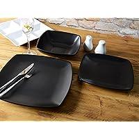 "Creative Tops 12-Piece Ceramic ""Raven"" Dinner Set, Black"