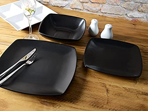 Creative Tops Raven 24 Piece Black Stoneware Square Dinner Set