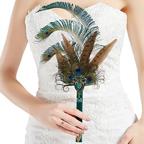 Coucoland Braut Brautjungfer Bouquet Feder Blumenstrauß Hochzeit 20er Jahre Feder Handfächer Accessoires Damen 1920s Gatsby Kostüm Zubehör (Pfau Grün)
