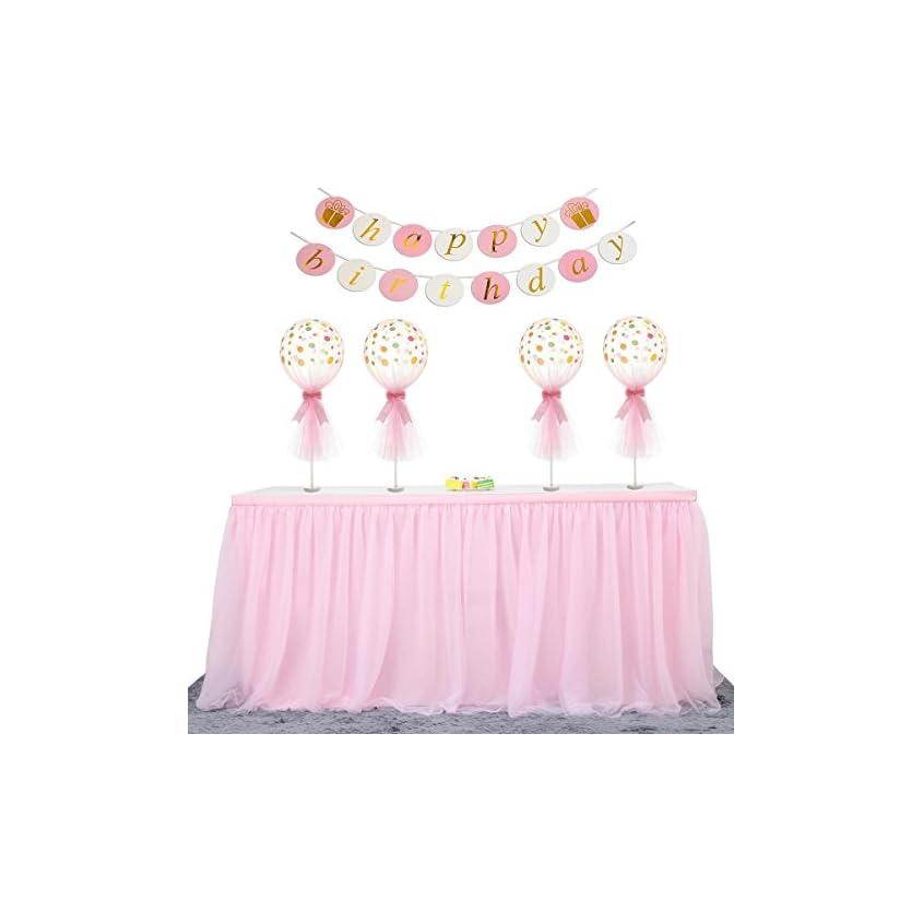 ManiSha Handmade 2 Yards 3 Schichten Mesh Fluffy Tutu Tüll Tisch Rock für Party, Hochzeit, Geburtstagsfeier, Baby Dusche Dekoration 1