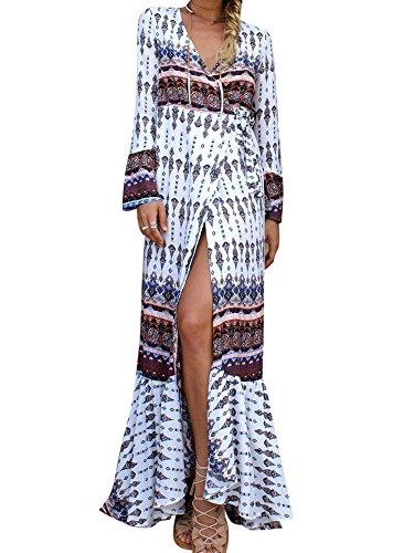 LaoZan Femme Longue Robe Bohême Robe en Tissu Imprimé Robe Fendue Robe Manches Longue Blanc et Brun