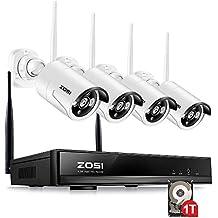 ZOSI CCTV 4CH 960P HD Wireless NVR System Funk Überwachungsset mit 1TB Festplatte plus 4 X 1.3MP WLAN Outdoor Netzwerk Außen IP Überwachungskamera, Kabellos