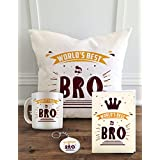 "Aldivo Gift For Sister And Brother 12"" X 12"" Cushion Cover With Filler ,Printed Coffee Mug ,Greeting Card & Printed Key Ring - Combo"