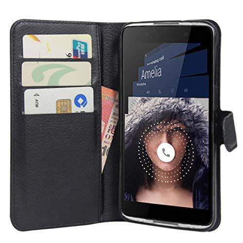 HualuBro BlackBerry DTEK60 Hülle, Premium PU Leder Leather Wallet HandyHülle Tasche Schutzhülle Flip Case Cover für BlackBerry DTEK60 Smartphone (Schwarz)
