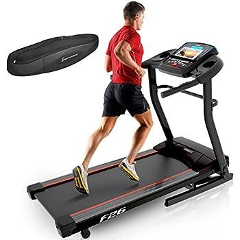 Sportstech F26 Cinta de Caminar con Control de Smartphone App + Pulsera Especial del Valor DE 39.90 € incluida + MP3 AUX Bluetooth 4 HP 16 kmh Formación HRC - Plegable
