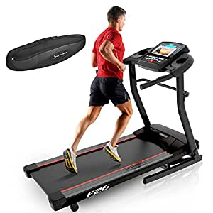 Sportstech F26 professional treadmill with Smartphone App control - pulse belt in value of 29.90£ included - MP3 AUX Bluetooth 4 HP 16 km/h HRC Training - compact foldable for storage (F26)