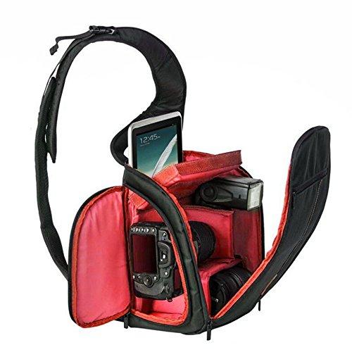 Freedom-vp Kameratasche Fototasche mit Fächern Reisekameratasche Schultertasche für Reise Urlaub Uni Kameramann Nikon Canon sehr praktisch Tasche rucksack (Rot)