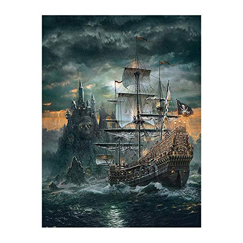 WLKJ Boutique Natur Landschaft 5d DIY Diamant malerei Piratenschiff voller Diamant Stickerei Landschaft Schloss kreuzstich mosaik, 50x60cm