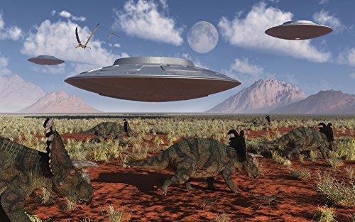 Mark Stevenson/Stocktrek Images – A herd of Centrosaurus dinosaurs walk past a group of UFO's. Photo Print (91,44 x 56,90 cm)
