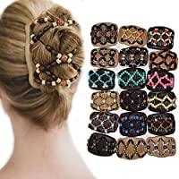 Ukallaite Elegant Magic Comb Vintage Beads Elastic Women Hair Styling Double Side Magic Comb Headwear Decor Hair Ornaments