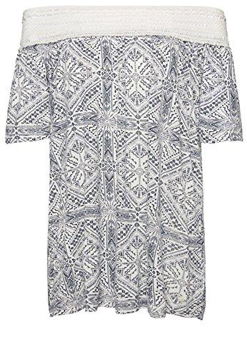 Tom Tailor für Frauen T-Shirt gemustertes T-Shirt mit Spitze Whisper White