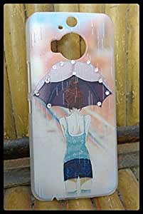 Fancy New Arrival Stylish Girl With Umbrella Printed rhinestone Diamond 3D Relief art luxury hard Plastic back cover phone case for HTC One M9+ Plus