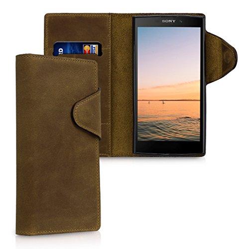 kalibri-Hlle-fr-Sony-Xperia-L2-Echtleder-Wallet-Case-Schutzhlle-mit-Fach-und-Stnder-in-Braun