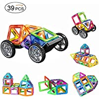 Magnetic Building Blocks, AMZtronics Toddler Toys Magnetic Blocks Construction Blocks 3D Rainbow Color Educational Toy Stacking Set Perfect Toy and Gift with 2 Wheels and Storage Bag