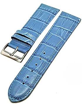 Uhrenarmband Kalbleder EISBLAU 26mm mit Alligator-Struktur 3925