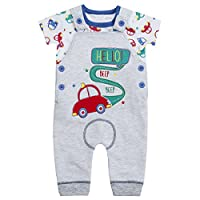 BABY TOWN Baby Boys Car Dungaree Set Made from 100% Cotton with Applique Design Grey